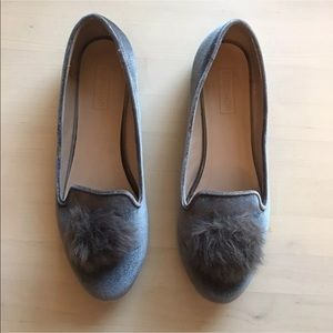 Topshop faux suede puff ball ballet flats loafers